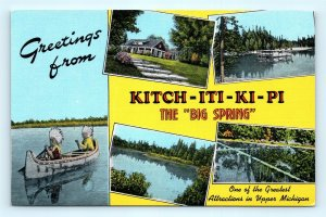 Postcard MI Manistique Kitch-Iti-Ki-Pi Big Spring Sight Multiview Linen H15
