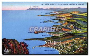 Old Postcard panorama of Menton Cannes
