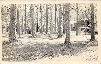 Tourist Cabins & City Park View~Stone Fireplace~RPPC pm 1...