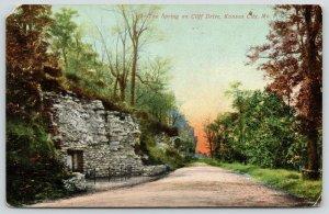 Kansas City Missouri~Cliff Drive Spring in Fall~Beautiful Sunrise~1909 Postcard