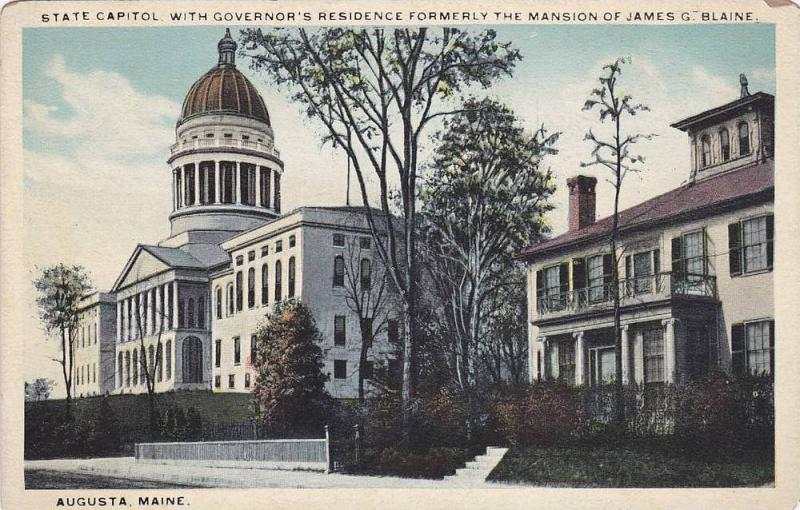 State Capitol With Governor's Residence Formerly The Mansion Of James G. Blai...