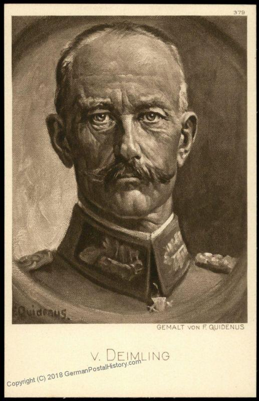 Germany WWI General von Deimling Artist Signed Portrait Ostpreussenhilfe E 77434