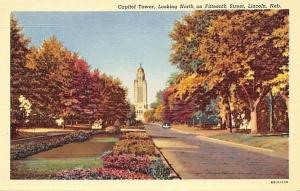 Lincoln Nebraska~Capitol Tower Looking North On Fifteenth Street~Autumn~1940s PC