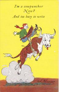 I'm A Cowpuncher Now by Cowboy Artist L H Dude Larsen