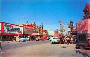 Chihuahua Mexico Juarez Avenue Store Fronts Old Cars Neon Signage Postcard