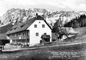 Orthof mit Blick auf die Rax, Besitzer Josef u. Lilly Fuchs P. Breitenstein