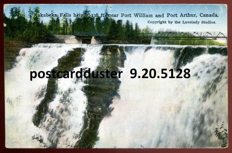 5128- KAKABEKA FALLS Ontario Postcard 1920s Near Port Arthur. Bridge by Lovelady