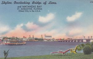 Scenic Cruise Ship, Skyline Overlooking Bridge of Lions, Matanzas Bay, St. Au...