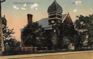 High School, Rockville Centre, Long Island, N.Y., 1908 Hand Colored Postcard