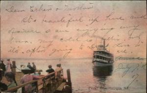 Point Chautauqua NY Steamer Boat Approaching 1907 Used Postcard