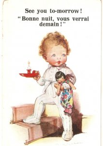Little girl with candle and her doll Lovely Inter-Art Comique Ser. PC # 6126