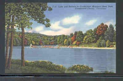 Tennessee colour PC Lake & Bathers Cumberland Mtn State Park unused