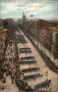 Melbourne Australia US Naval Parade American Sailors 1908 Postcard
