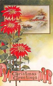 Christmas~Vintage Auto Heads Home in Snow~Tall Poinsettias~Emboss~Artist A Hall