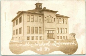 LEMMON, South Dakota RPPC Real Photo Postcard PUBLIC SCHOOL Building View 1910