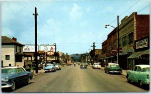 Weirton, West Virginia Postcard MAIN STREET Downtown Scene 1950s Cars Unused