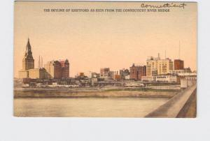 ANTIQUE POSTCARD CONNECTICUT HARTFORD SKYLINE AS SEEN FROM CONNECTICUT RIVER BRI