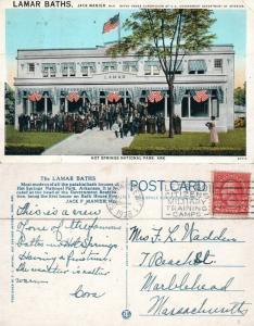 HOT SPRINGS NATIONAL PARK ARK. LAMAR BATHS AMERICAN FLAG 1928 VINTAGE POSTCARD