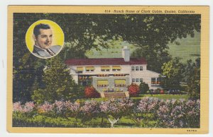 P2002, ca1942 postcard ranch home of clark gable encino calif unused