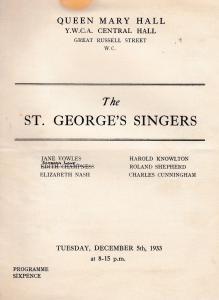 London YMCA St George Singers Musical Hostel Antique Opera Concert Programme