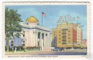 Court House Hotel Riverside Reno Nevada 1940s postcard