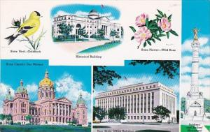 Iowa Des Moines Multi View State Flower & Bird State Capitol and Office Build...