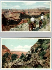 2 Postcards GRAND CANYON NATIONAL PARK Riders on HERMIT TRAIL Fred Harvey c1910s