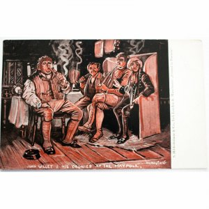 Hildesheimer & Co. Ltd. Postcard 'John Willet & his Cronies at the Maypole'
