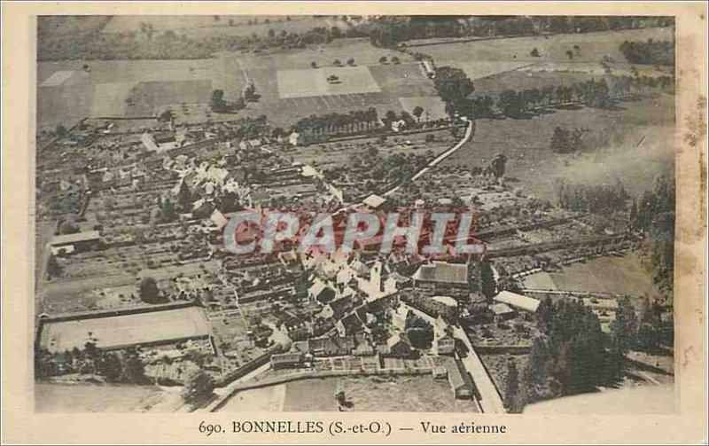 Old Postcard Bonnelles S and O Aerial view