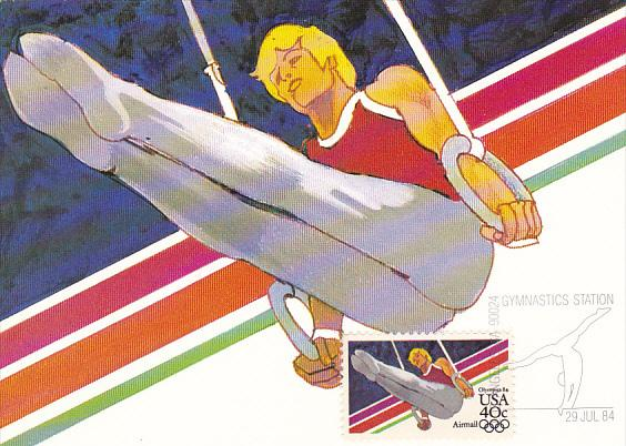 Men's Gymnastics Stamp 1984 Summer Olympics Los Angeles California