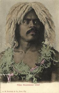 fiji islands, Native Fijian Mountaineer Chief (1899) Brodziak & Co.