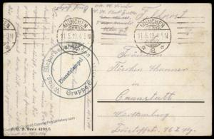 Germany 1919 Revolution Wuerttemberg Freikorps in Munich Feldpost 86994