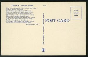 CA Los Angeles Cliftons Pacific Seas Restaurant Olive St Vntg Linen Postcard