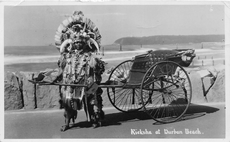 G58/ South Africa Foreign RPPC Postcard c1930s Ricksha Durban Beach