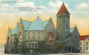 Bloomington Illinois~Second Presbyterian Church~House Next~1912 Postcard