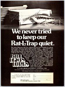 1981 Bill Lewis Lure Rat-L-Trap Fishing Lures Vintage Print Ad Man Cave F1