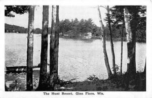 Glen Flora Wisconsin Hunt Resort Waterfront Antique Postcard K100380