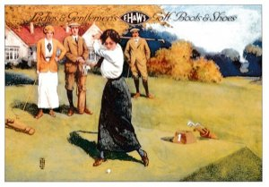 FH & W Ladies Golf Boots Old Sports Shoes Poster Advertising Postcard