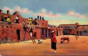 New Mexico Tesuque Indian Pueblo On Highway 64 Between Taos and Santa Fe 1955...
