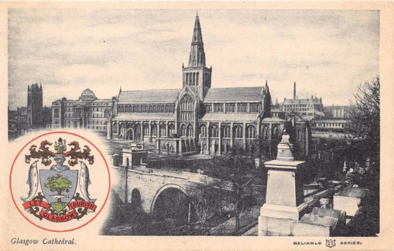 GLASGOW SCOTLAND UK CATHEDRAL~COAT OF ARMS~RELIABLE SERIES POSTCARD 1910s