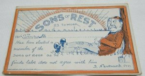 Sons of Rest 23 To Work Comic Vintage Collectible Postcard 1907-1914 Colored