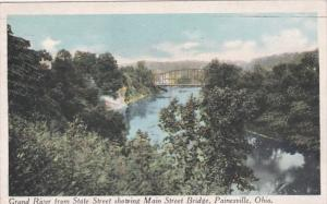 Ohio Painesville Grand River From State Street Showing Main Street Bridge 1919