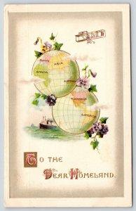 Dear Homeland~Twin Globes Show World~Steamer Ship~Bi-Plane~Pansies~Winsch 1911
