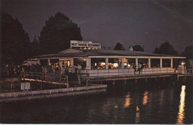 Inlet Harbor Restaurant Night View Ponce Inlet Fishing Camp FL Postcard