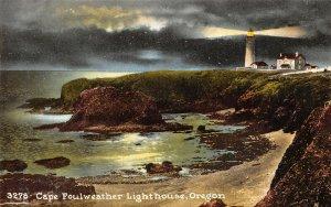 Vintage c1915 USA Postcard, Cape Foulweather Lighthouse, Oregon, Sea, Cliffs BA9