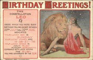 Zodiac Astrology Series LEO Mary L Price c1910 Postcard