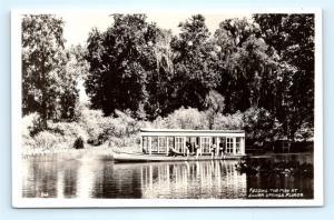 Postcard FL Silver Springs Feeding The Fish Boat RPPC Real Photo E16