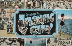 C.1942 Greetings from Atlantic City, N.J. Fishing, Sail Boat Postcard ~ Donlon