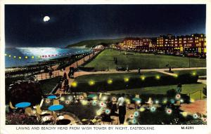 B89002 lawns and beachy head from wish tower by night eastbourne    uk  14x9cm