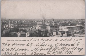 Sheboygan, Wis., Birds-Eye-View 3 C, Chairs-Cheese-Children - 1906